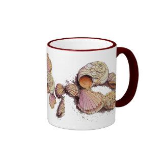 SEASHELLS by SHARON SHARPE Ringer Coffee Mug