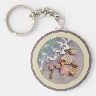 SEASHELLS by the SEA by SHARON SHARPE Basic Round Button Keychain