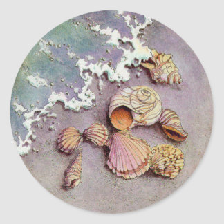 SEASHELLS by the SEA by SHARON SHARPE Classic Round Sticker