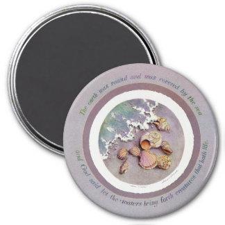 SEASHELLS by THE SEASHORE by SHARON SHARPE 3 Inch Round Magnet