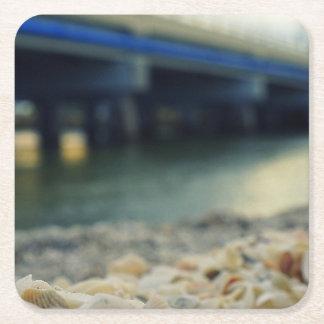 Seashells by the Seashore Square Paper Coaster