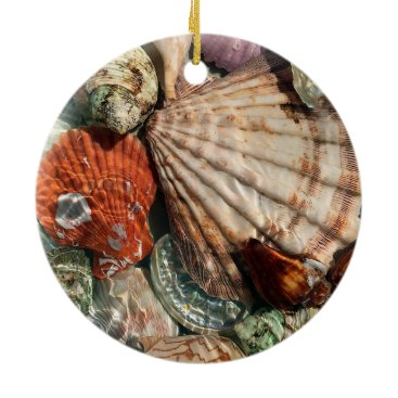 Beach Themed Seashells Ceramic Ornament