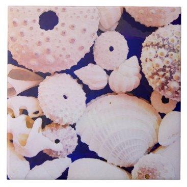Beach Themed Seashells Ceramic Tile