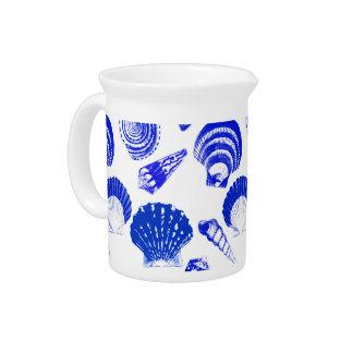 Seashells - cobalt blue on a white background beverage pitcher