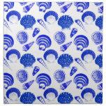 Seashells - cobalt blue on a white background cloth napkin