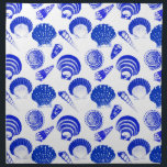 "Seashells - cobalt blue on a white background cloth napkin<br><div class=""desc"">Digitally enhanced,  vintage illustrations of a variety of seashells rendered in a conte crayon effect - cobalt blue on a white background</div>"