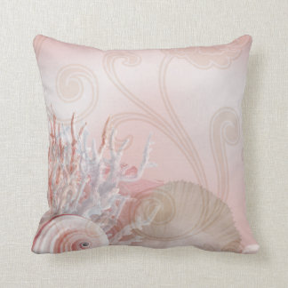 Seashells & Coral Beach Decor | pink Throw Pillow
