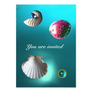 SEASHELLS DAMASK GEM BEACH WEDDING blue aquamarine Card