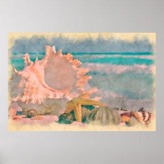 Seashells de la acuarela en el poster grande de la