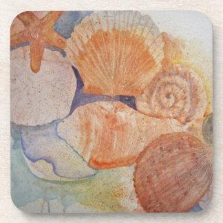 Seashells de la orilla del jersey posavasos de bebida
