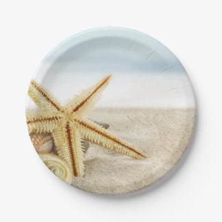 Seashells de las estrellas de mar de la playa de platos de papel