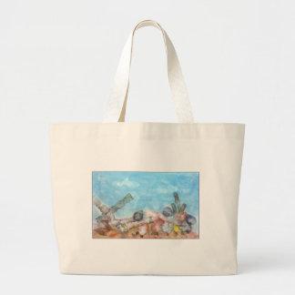 Seashells debajo del mar bolsas lienzo