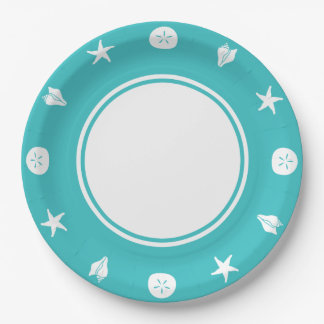 Seashells del verano en la placa de papel de la plato de papel de 9 pulgadas