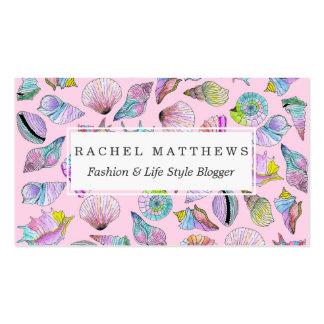 Seashells del verano en pintura pintada femenina tarjetas de visita