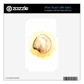 Seashells design with yellow seashell decal for iPod touch 4G