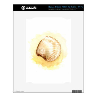 Seashells design with yellow seashell decal for the NOOK