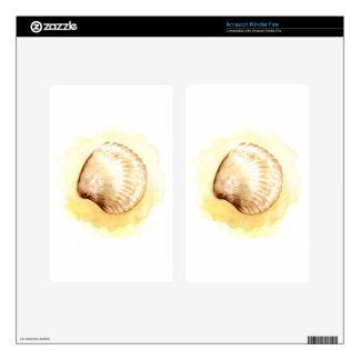 Seashells design with yellow seashell kindle fire skin