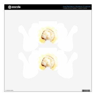 Seashells design with yellow seashell PS3 controller skins