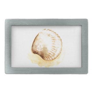 Seashells design yellow seaschel rectangular belt buckle