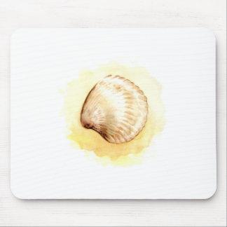 Seashells design yellow seaschel mouse pad