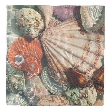 Beach Themed Seashells Duvet Cover