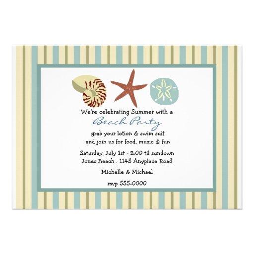 Seashells e invitación del fiesta de la playa de l