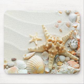 Seashells en el cojín de ratón de la playa tapete de ratones