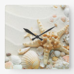 Seashells en el reloj de la playa