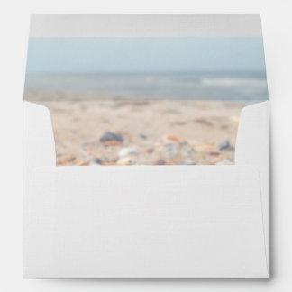 Seashells en el sobre de la tarjeta de