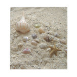 Seashells en la playa bloc de notas