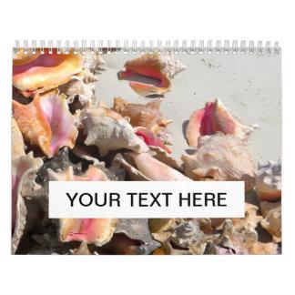 Seashells en los turcos de la playa el   y la foto calendario