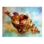 Seashells en una acuarela de la concha del caballo tarjeta postal