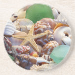 Seashells estrellas de mar y práctico de costa del posavaso para bebida