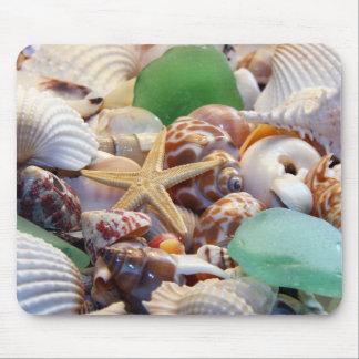 Seashells estrellas de mar y vidrio Mousepad de la
