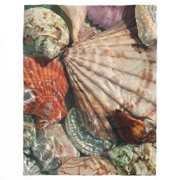 Beach Themed Seashells Fleece Blanket