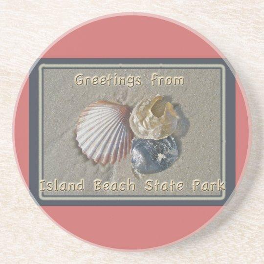 Seashells Greetings From IBSP Seaside Park NJ Drink Coaster
