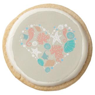 seashells heart beach wedding heart round shortbread cookie