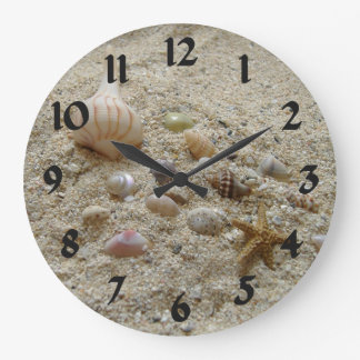 Seashells In The Sand Large Clock