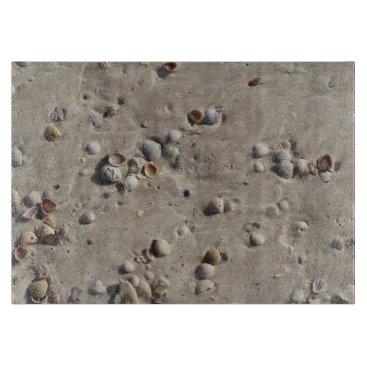 Beach Themed Seashells in the Wet Sand Cutting Board