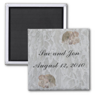 SeaShells & Lace 2 Inch Square Magnet
