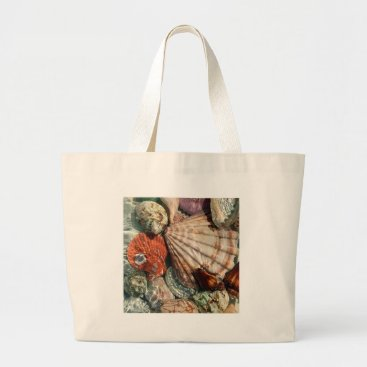 Beach Themed Seashells Large Tote Bag