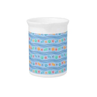 Seashells light blue sea pattern drink pitcher