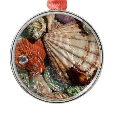 Beach Themed Seashells Metal Ornament