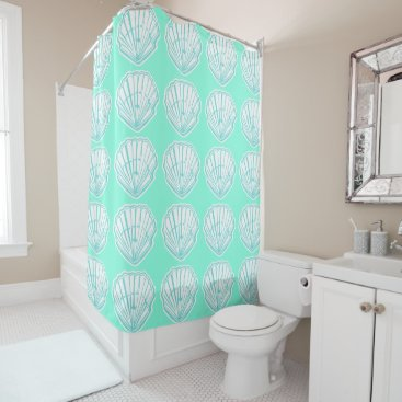 Beach Themed Seashells Mint and White Print Shower Curtain