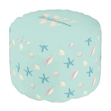 Beach Themed Seashells Monogrammed Pouf Seat