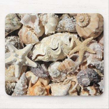 Ocean Themed Seashells Mouse Pad
