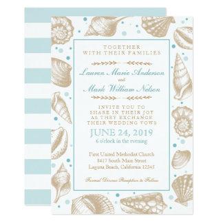 Seashells Nautical Beach Wedding Aqua/Tan Card
