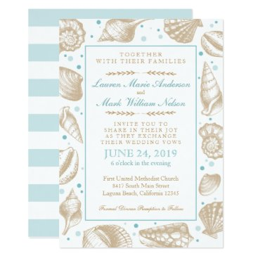 Beach Themed Seashells Nautical Beach Wedding Aqua/Tan Card