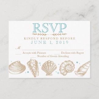 Seashells Nautical Beach Wedding RSVP Tan/Aqua