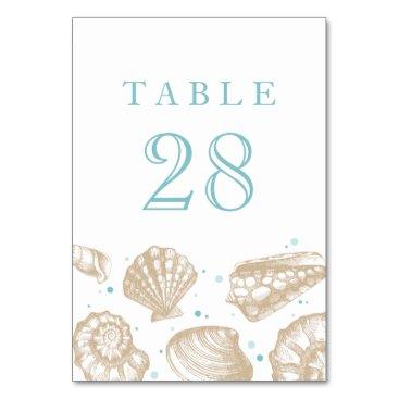 Beach Themed Seashells Nautical Beach Wedding Table Number Card